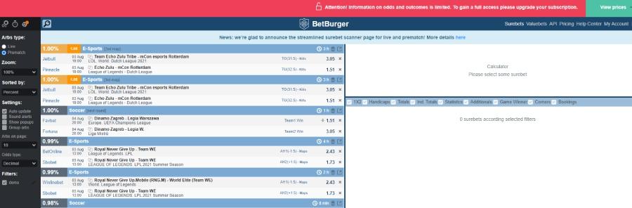 betburger free surebet scanner service